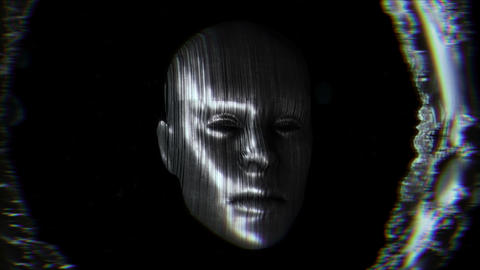 Metallic broken face.Sci-fi seamless background Animation