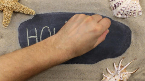 Word HOLIDAYS, written on a chalkboard among seashells and starfishes lying on Footage