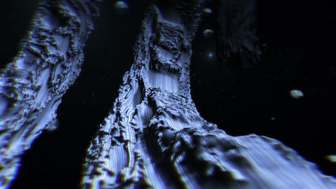 Flying in a strange space landscape Animation
