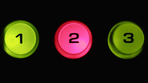 Toggle buttons, selected button glows red. Close-up buttons Live Action
