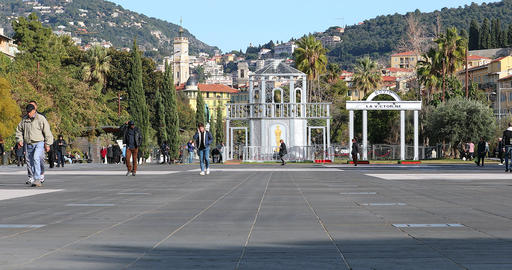 People Walking At Promenade Du Paillon In Nice France Live Action