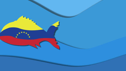 fish in the color flag of Venezuela Animation