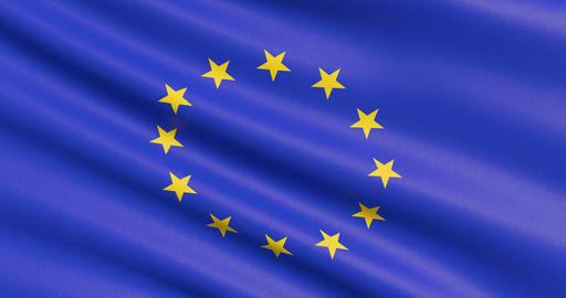 The European flag, EU Flag Footage