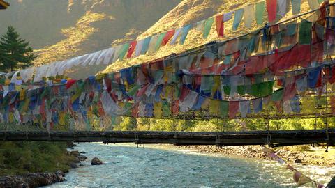 Suspension bridge near Paro, Bhutan Live Action