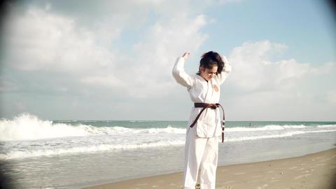 Lika shows karate Stock Video Footage