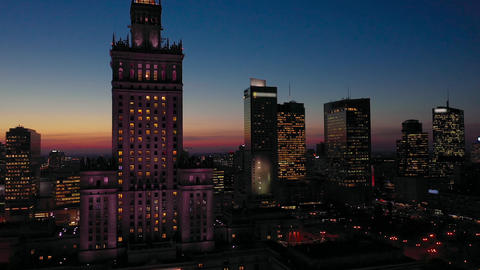 Aerial view of the business center of Warsaw: Palace of Science and Culture and Footage