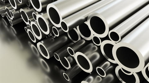 Rolled round metal industrial shiny tubes background, 3d render of metallic Live Action