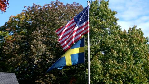 American Civil War Flag Flies Over Swedish Flag Live Action