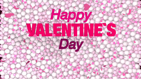 Greeting card with words HAPPY VALENTINE S DAY coming out of a lot of white and Animation