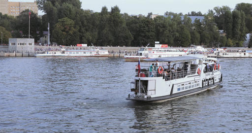 Pleasure boats on the Moscow River Footage