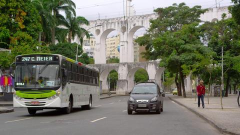 RIO DE JANEIRO, BRAZIL - JUNE 23: Slow motion of busy street in Rio de Janeiro o Live Action