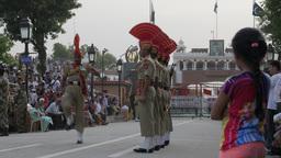 Wagah Border Guard With Funny Walk,Wagah,India stock footage