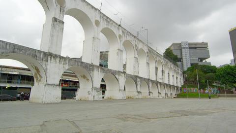 Arcos da Lapa pan in Rio de Janeiro, Brazil Live Action