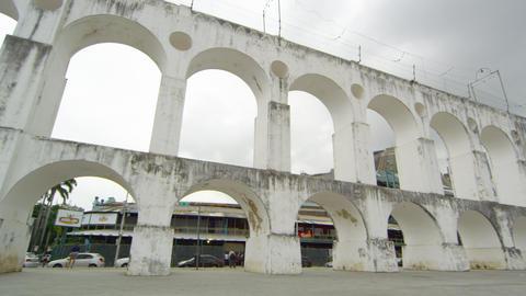Panning shot of Arcos da Lapa in Rio de Janeiro, Brazil Footage