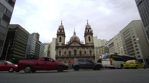 Shot of Candelaria Church in Rio de Janeiro, Brazil Live Action
