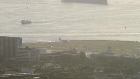 Plane starting to move across Santos Dumont Airport airstrip Footage