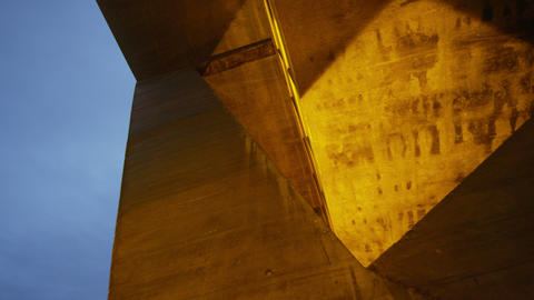 Tracking shot of building's concrete post and beam in Rio de Janeiro, Brazil Footage