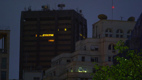Shot of buildings at night in Rio de Janeiro, Brazil Footage