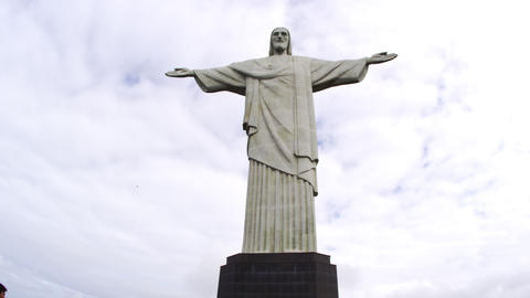 Low-angle still footage of Rio's Christ statue Footage