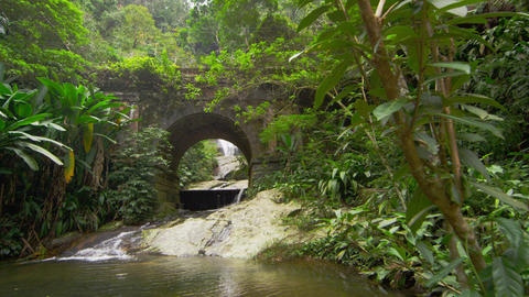 Tracking shot of jungle stream, waterfall as seen through stone arch Footage