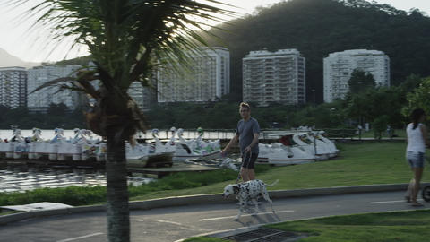 Man walks dog near Rio's lagoon Footage