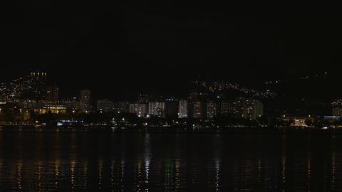 Static water shot of shoreline of Rio de Janeiro, Brazil Footage