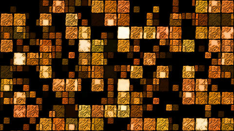 Abstract Sketchy Glowing Squares Background - Loop Orange Animation