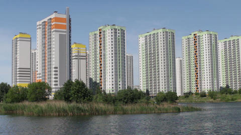 modern apartment buildings over the water Footage