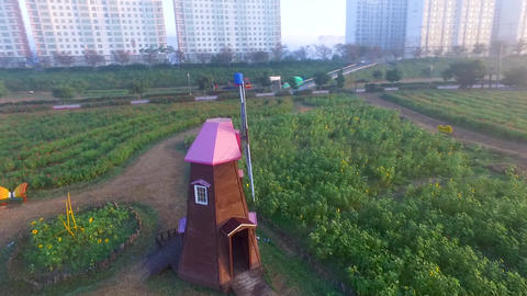Aerial View of Windmill in Namji, Changnyeong,Gyeongnam, South Korea, Asia Live Action