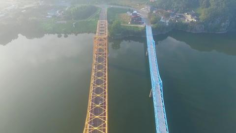 Aerial View of Namji cheolgyo Rail Road, Changnyeong Gyeongnam, South Korea, Footage