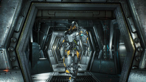 Robot soldier runs through a futuristic Sci-Fi tunnel with sparks and smoke CG動画素材