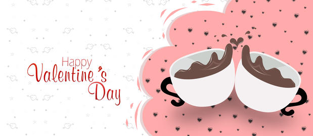 Valentine's day greeting card, banner, poster, White coffee cup, advertisement. Photo