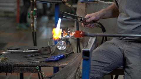 Glass Worker Uses Torch To Help Mold The Final Glass 4K Footage