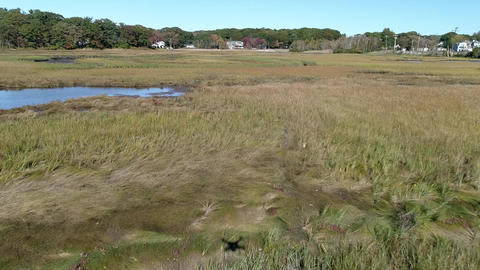 Aerial Drone - Fly Low Over Marsh Passing Over Small River With Drone Shadow In Live Action