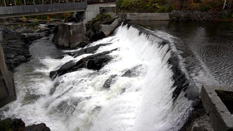 Water Rushes Over Small Hydro Electric Dam in Vermont 4K Live Action