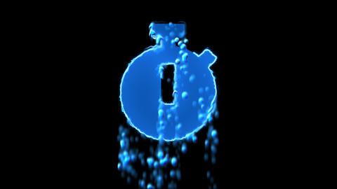 Liquid symbol stopwatch appears with water droplets. Then dissolves with drops Animation