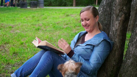Attractive woman reading a book in a Park by a tree. A cute dog runs to her Footage