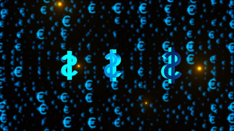 Dollar symbols among many Euro symbols are in space, 3d rendering business and Live Action
