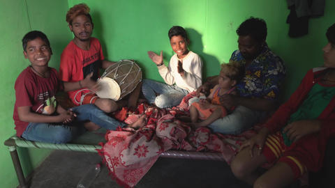 Kaputhli, India - 20180227 - Family Makes Music In Tiny One Room Home - w Sou Footage