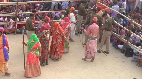 Barsana, India - 20180225 - Lathmar Fest - Women Beat Men - Women Enter Stadi Footage