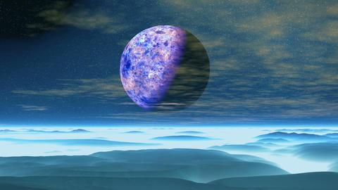 Purple Moon over Blue Planet GIF