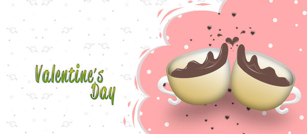 Valentine's day greeting card design with couple of cups. illustration Fotografía
