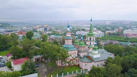 Russia, Irkutsk. Holy Cross Church, Orthodox Church, Protestant Church, From Footage