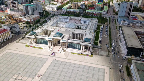 Mongolia, Ulaanbaatar. Government Palace, Chinggis Square ( SuheBator Square ), Footage