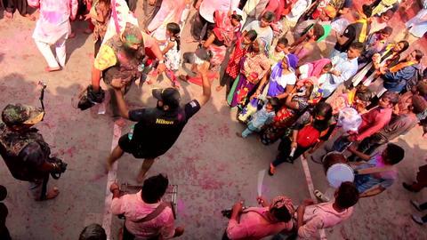 Barsana, India - 20180223 - Holi Festival - Seen From Above - Film Crew Join Footage