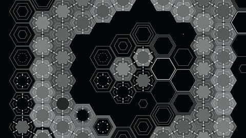 Abstract Hexagons on a Black Background CG動画素材