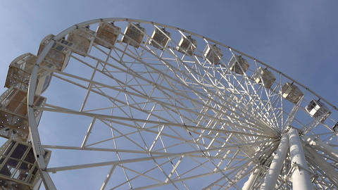 Ferris Wheel Carousel Spinning Blue Sky Background Footage