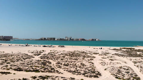 Dubai is a city built in the desert and overlooking the island Palm Jumeirah Footage