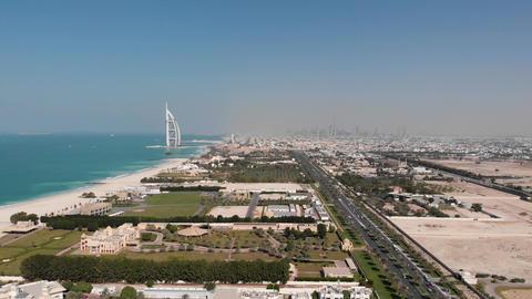 Coastline of Dubai with a view of the hotel Burj Al Arab Jumeirah Footage