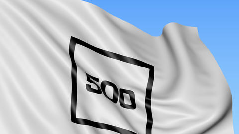 Waving flag with 500 Startups logo. Seamless loop 4K editorial animation Footage